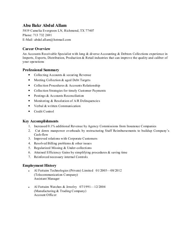 payroll specialist cover letter sample clpayroll specialist accounting - Account Receivable Resume