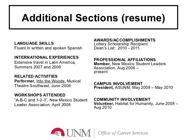 Things ...  Additional Skills On Resume
