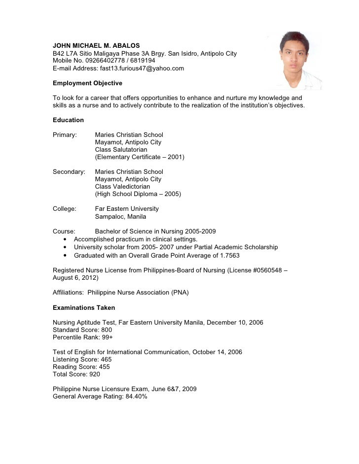 Sample Resume Registered Nurse Philippines Cehdaghana