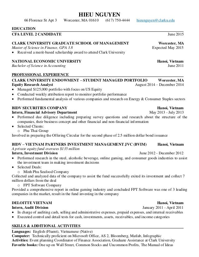 cfa candidate resume cfa on resumes template resume hieu