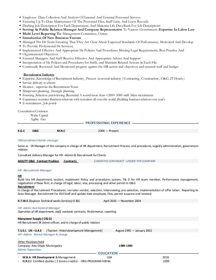 resume hr manage