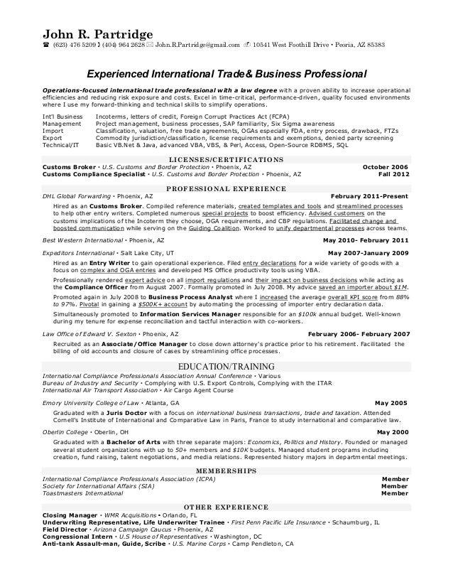 Resume of international banking trade
