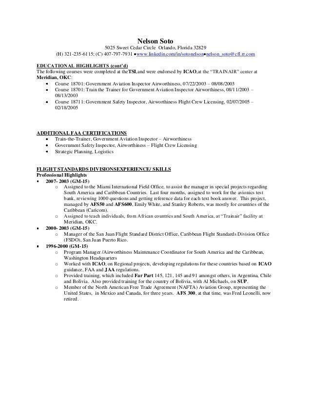 Aviation inspector resume