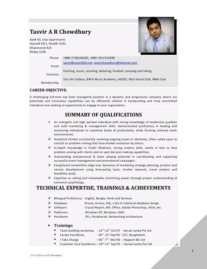 Resume   tasvir a r chowdhury - april 2012