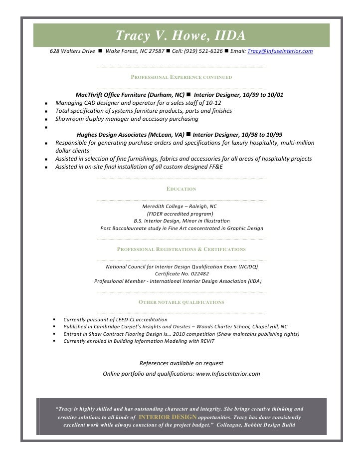 commercial interior design resume