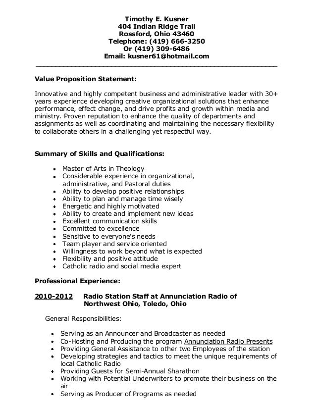 ministry resume sample