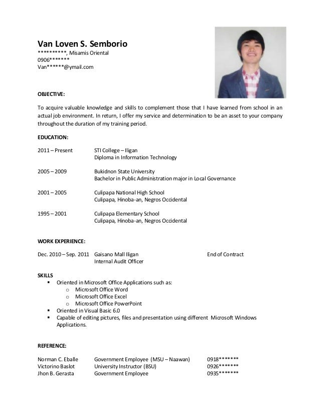 Resume Format Sample Ojt Sample Resume for OJT. Van Loven S. Semborio ********** ...
