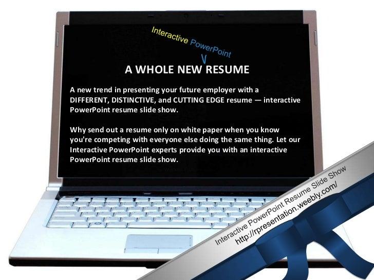 Interactive PPT resume slide show