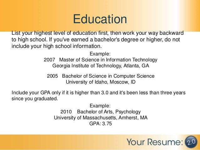 Putting education on resume