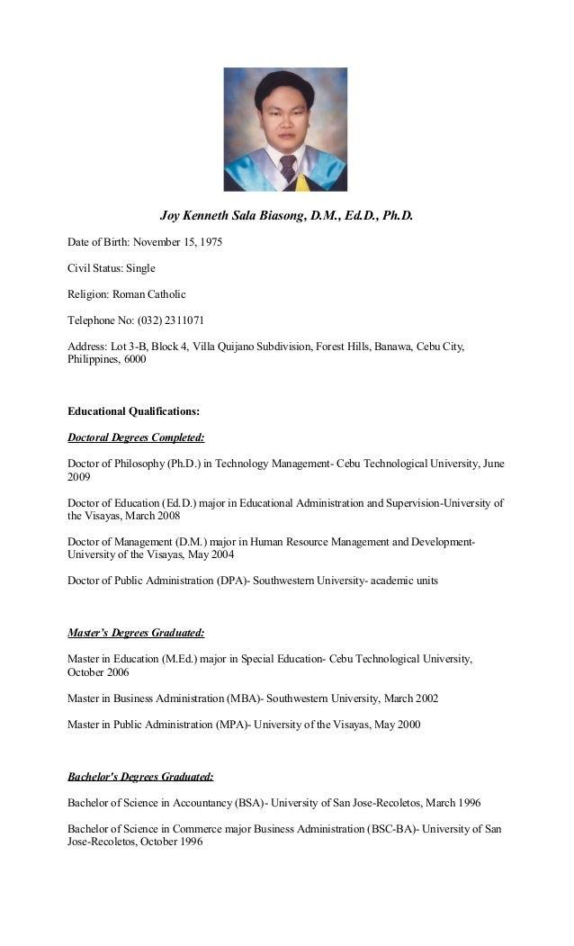 Curriculum Vitae Of Dr. Joy Kenneth Sala Biasong