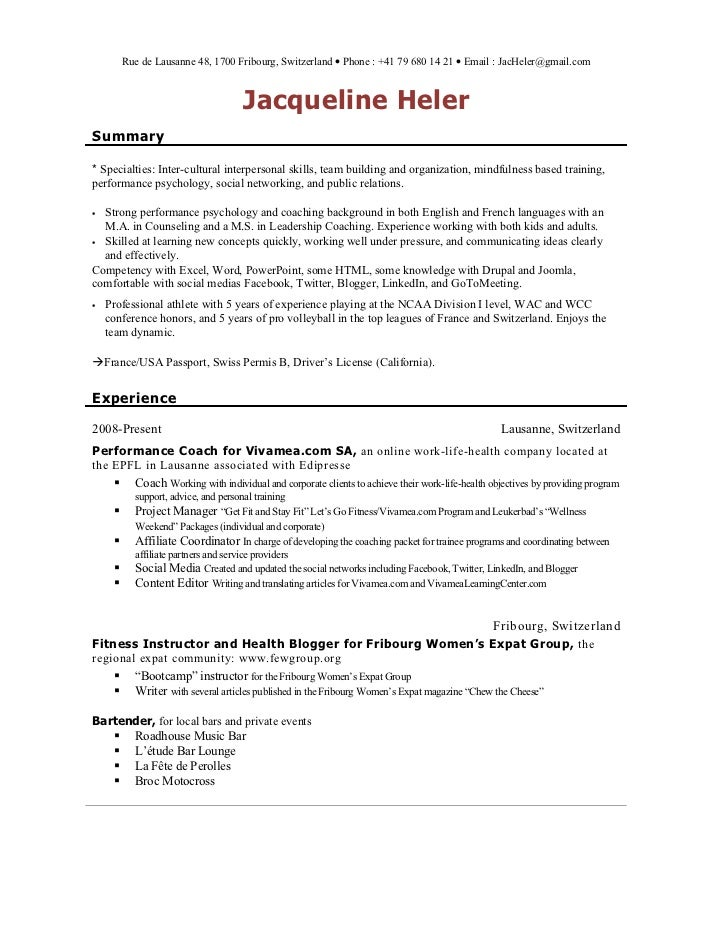Day Camp Resume Sample