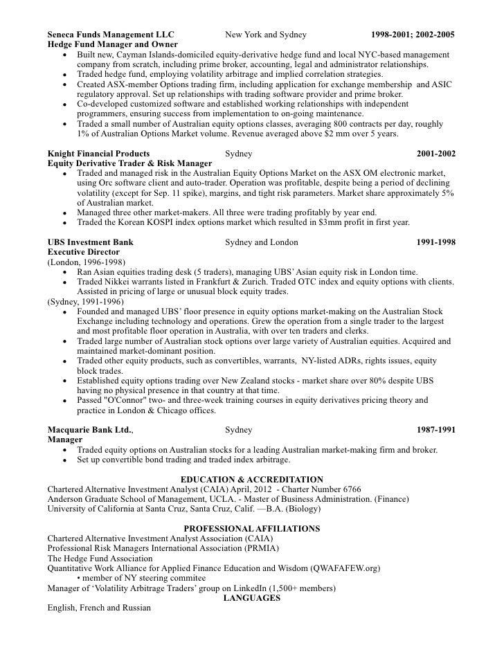Equity Trader Cover Letter For Resume Best Sample Resume