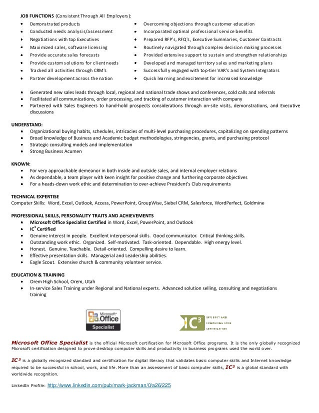 Example Of Skills To Put On A Resume  Resume Microsoft Office Skills