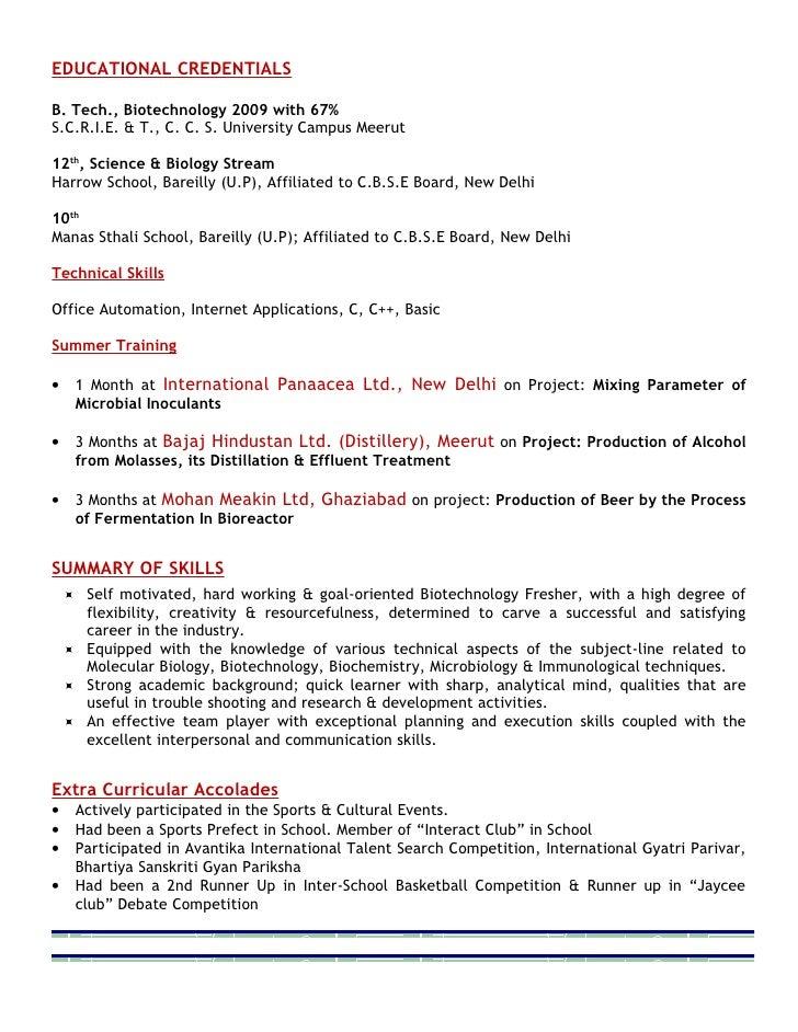 28+ [ Resume Format For Biotechnology Freshers ] | Resume Format ...