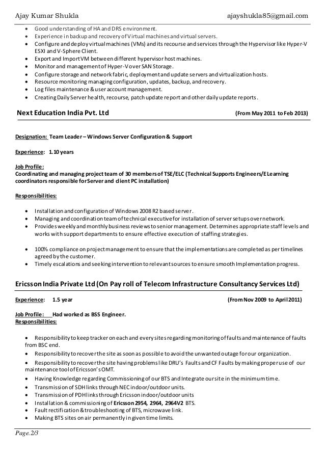 Windows vmware administrator resume