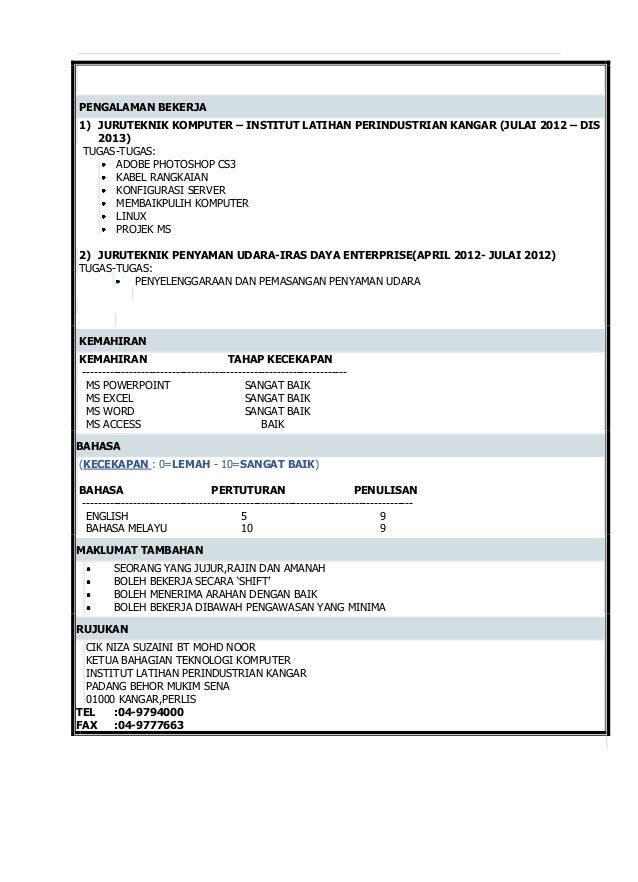 Contoh Resume Bahasa Melayu Doc Gambartop Com