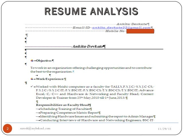 resume analysis live 29 11 13 mini mba free