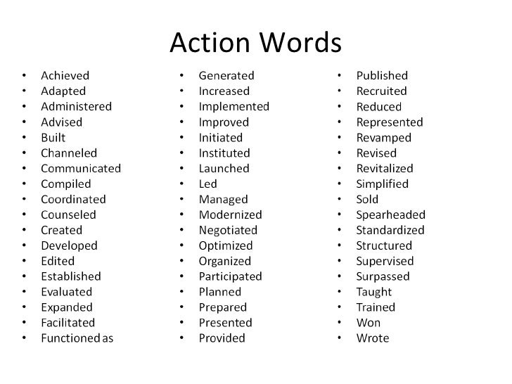 ... All Lycos Good Resume ... resume action phrases cv power words