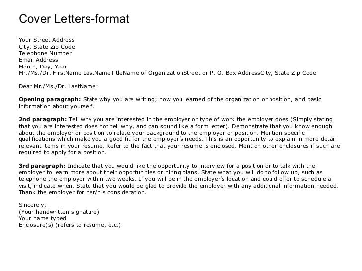Mail Cover Letter Format Cover Letters-format Your