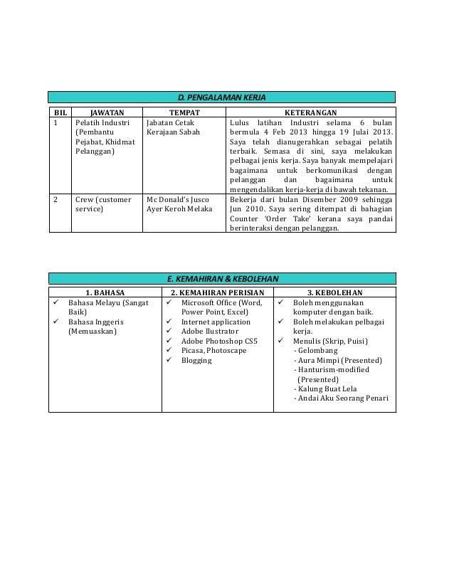 Format resume bahasa malaysia