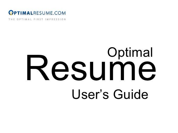 Optimal Resume User's Guide