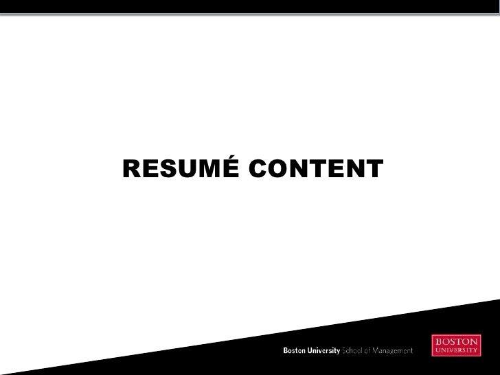 Resume Content