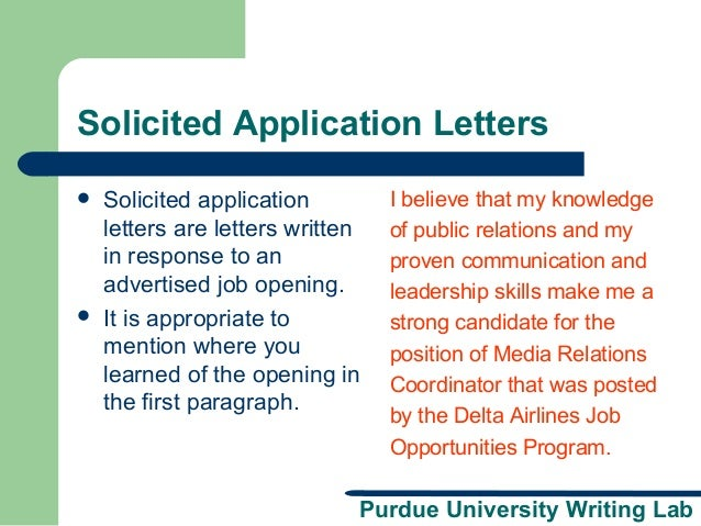 solicited application letter Having trouble writing your application letter use these application letter samples for fresh graduates as a guide.