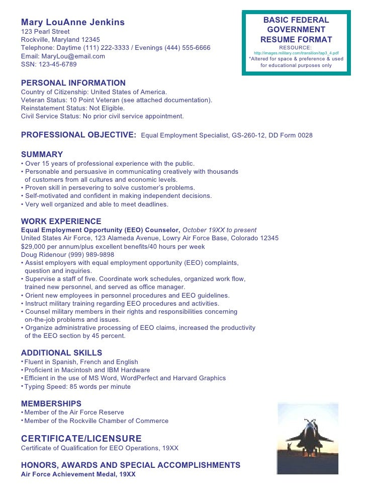 Federal Resume Cover Letter