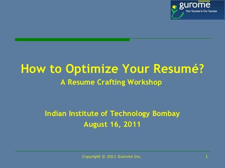 Resume crafting workshop
