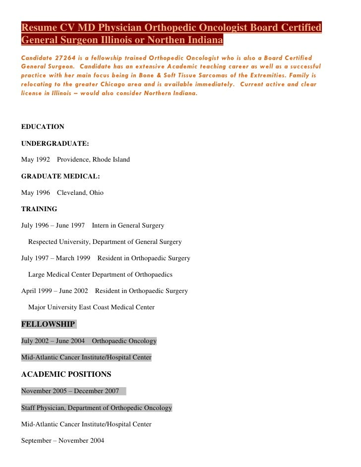 resume cv m d physician orthopedic oncologist board