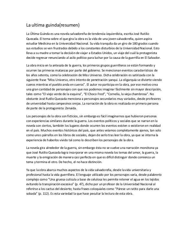 La ultima guinda(resumen)La Última Guinda es una novela salvadoreña de tendencia izquierdista, escrita José RutilioQuezada...