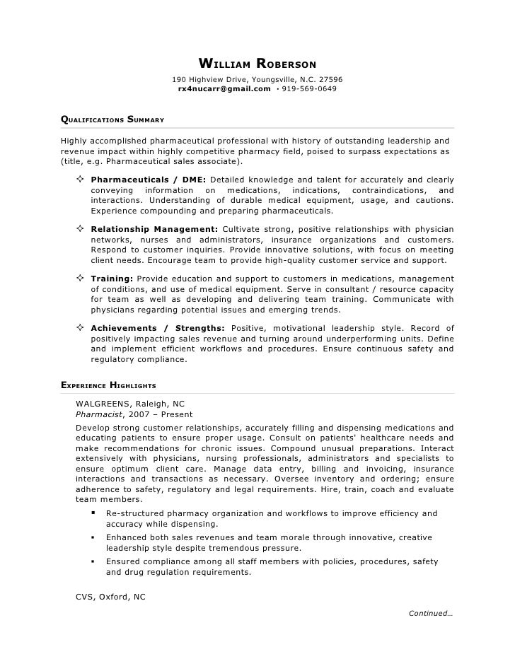 Pharmaceutical rep resume sample