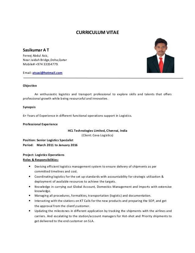 resume for logistics specialist sasikumar