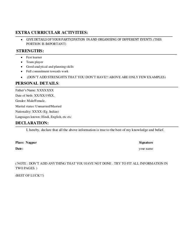 Other Activities In Resume,Sample Resume Resume For Experienced ...