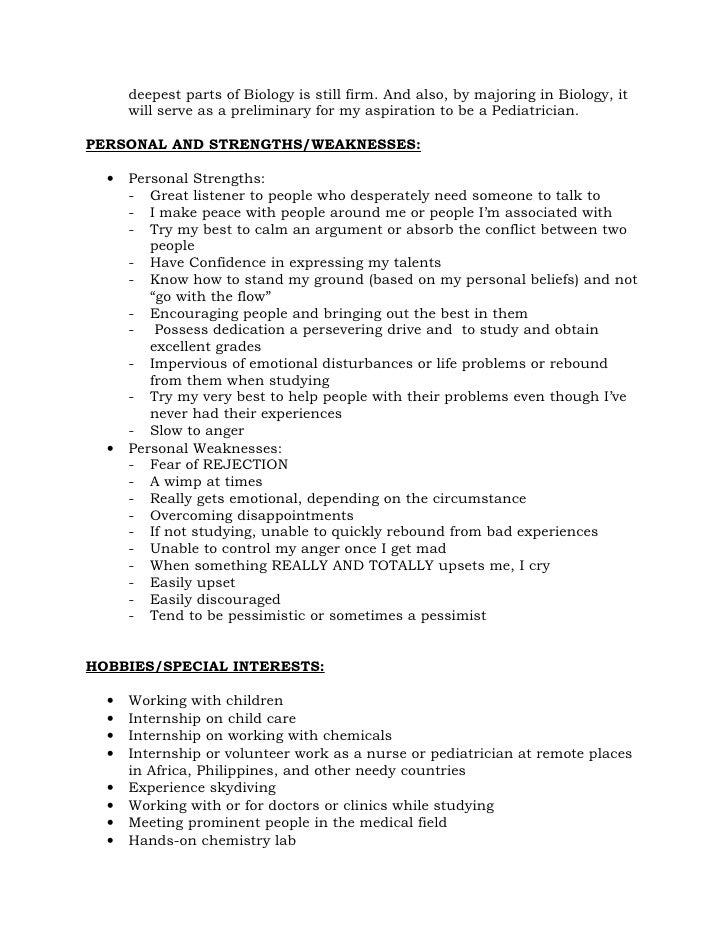 Strength and weakness in resume
