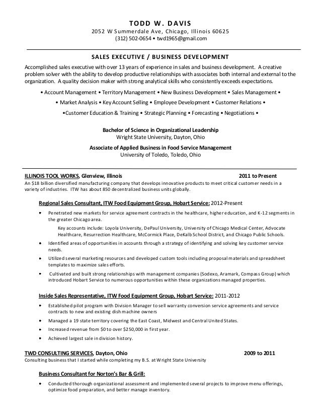 resume for todd davis professional