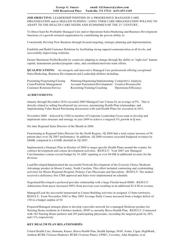 resume george sauers 201205 executive summary