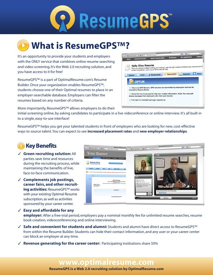 What is ResumeGPS™? It's an opportunity to provide your students and employers with the ONLY service that combines online ...