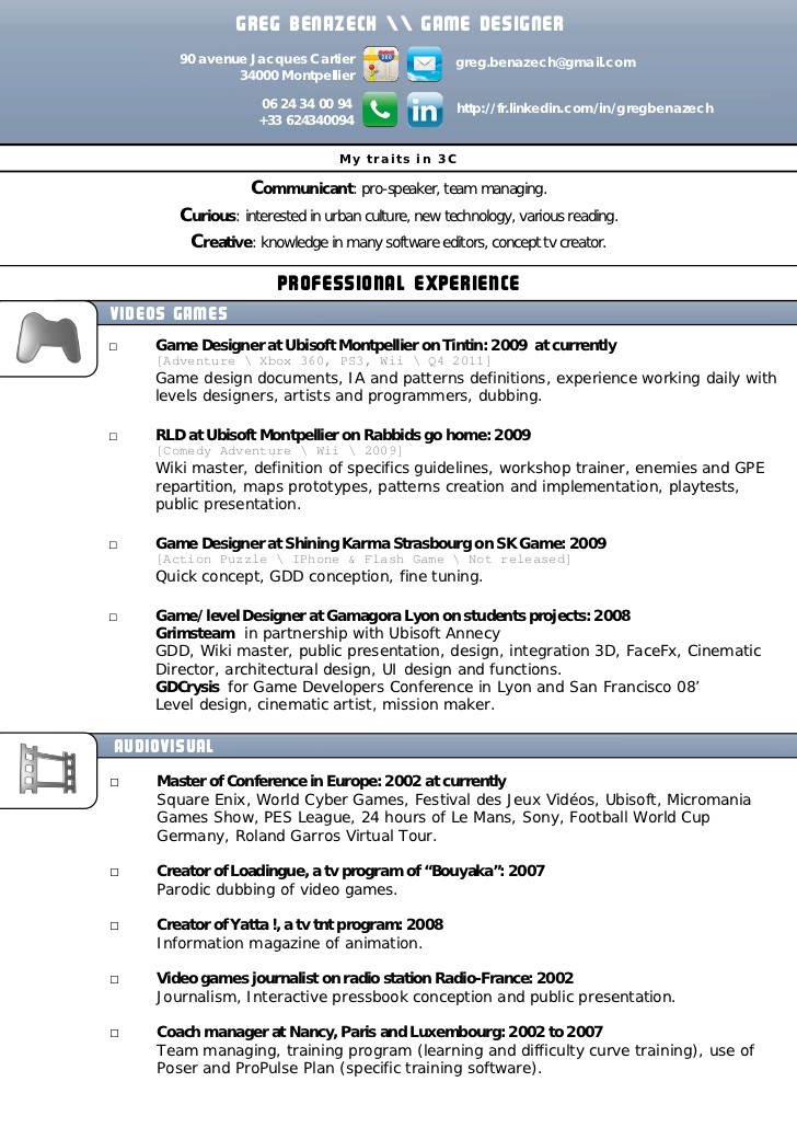 contemporary game designer resume example illustration
