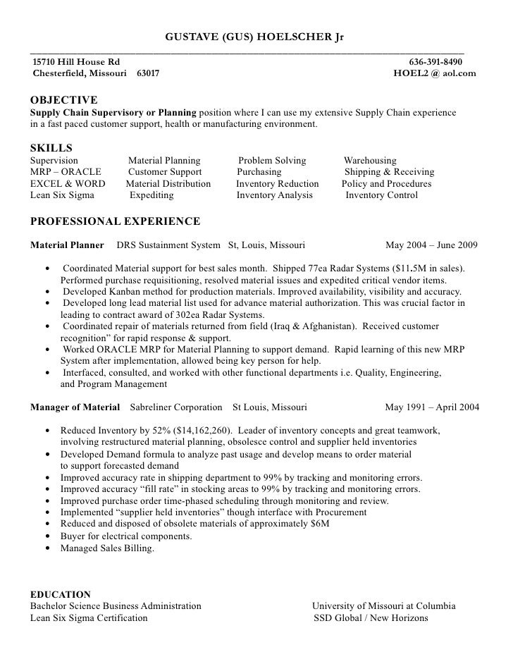 Supply chain coordinator resume examples