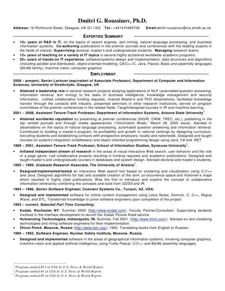Phd resume industry