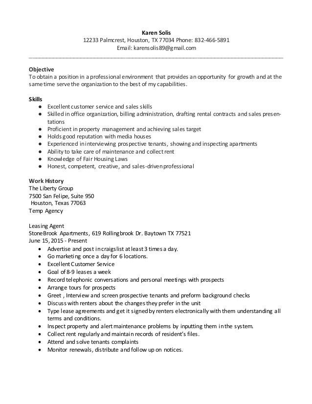 Cover Letter For Leasing Consultant No Experience