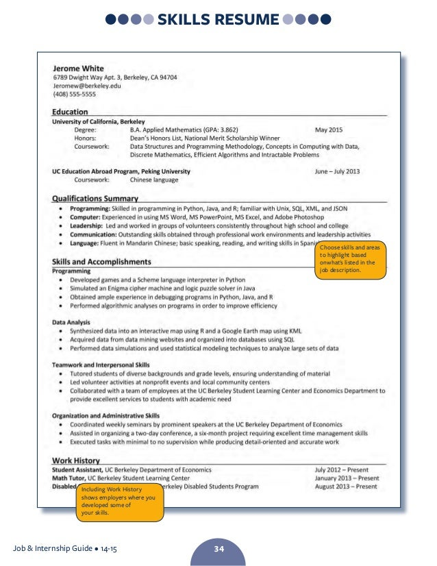 Writing a resume example