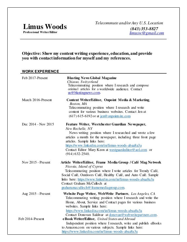 Resume for professional editor