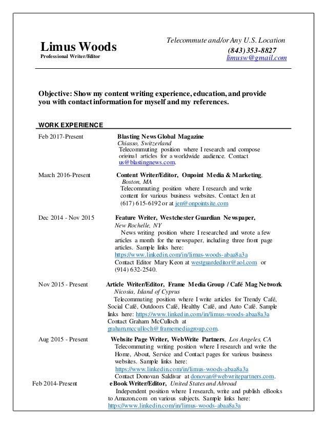 resume limus woods  professional writer