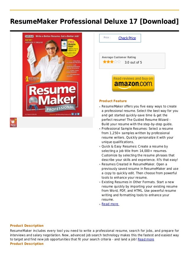 Resume maker professional deluxe 17 [download]