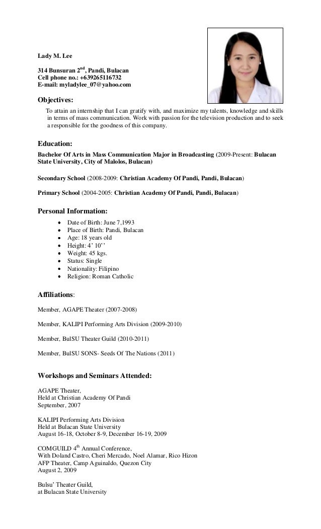 ... - Sample Ojt Resume For It Document Sample Sample Ojt Resume For It
