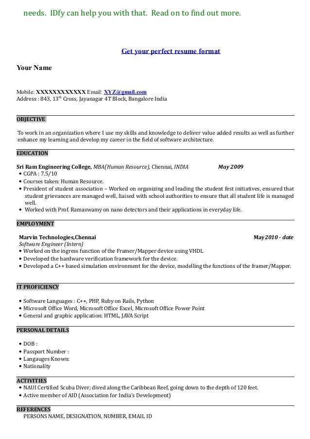 resume setup examples - Format To Write A Resume