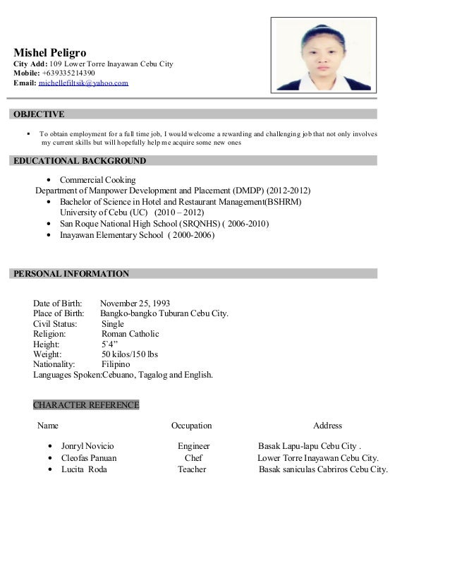 Resume Example Tagalog frizzigame