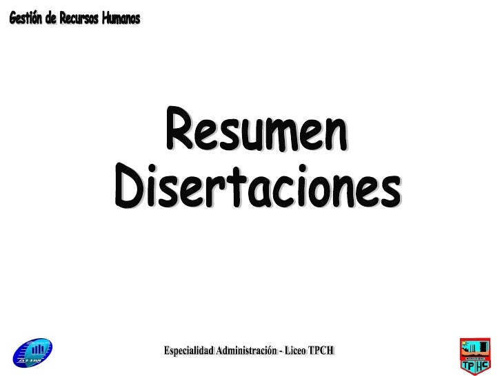 Especialidad Administración - Liceo TPCH Resumen Disertaciones Gestión de Recursos Humanos